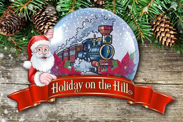 Holiday on the Hill logo of Santa and train in snow globe set on top of pine cones and evergreens